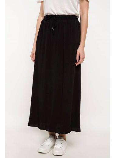 DeFacto Beli Bağcıklı Uzun Etek Siyah